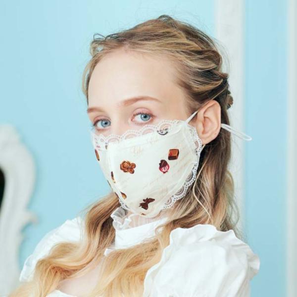 ロリィタ コスプレ レース付マスク マスク レース マスク チョコレート ゴスロリ マスク 衛生品|bodylinecojp|02