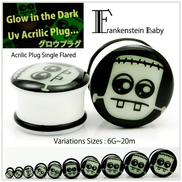 ボディピアス 20mm Frankenstein Baby フランケンシュタイン 光るプラグ グロウプラグ プラグ GLOW IN THE DARK 早い者勝ち|bodywell