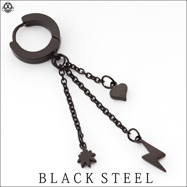 20G ブラック スリーチャーム  イヤリングクリッカー 簡単ピアス メンズピアス リングピアス|bodywell