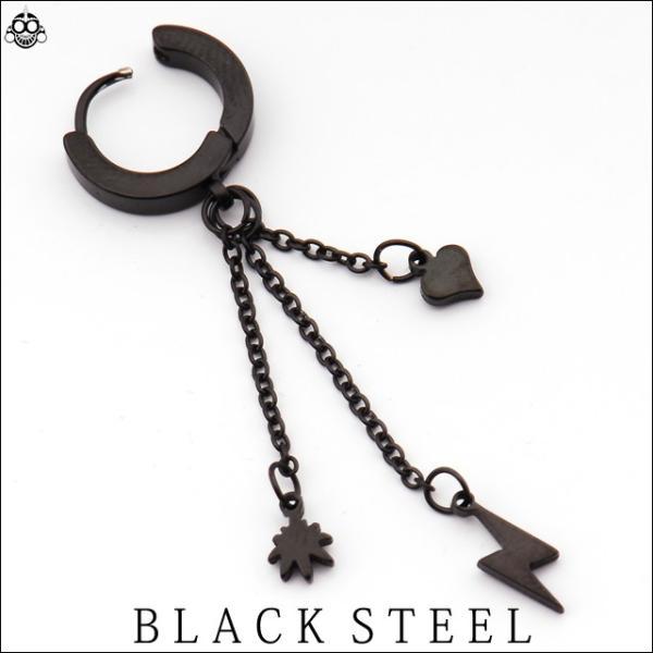 20G ブラック スリーチャーム  イヤリングクリッカー 簡単ピアス メンズピアス リングピアス|bodywell|02