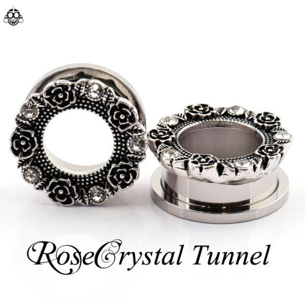 早い者勝ち  ボディピアス  2G  0G  ROSE クリスタル 薔薇ピアス フレッシュトンネル bodywell 05