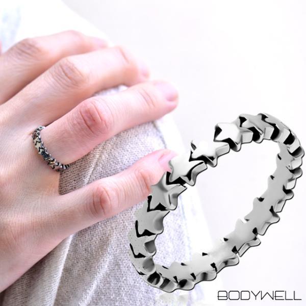 人気デザイン スター 星 指輪 リング ステンレス アレルギーフリー メンズ レディース アクセサリー