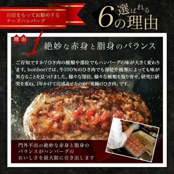 究極のひき肉で作る 牛100%ハンバーグステーキ200g チーズin 8個 冷凍 送料無料(本州) 肉 ご飯のお供 お祝いに|bonbori|06