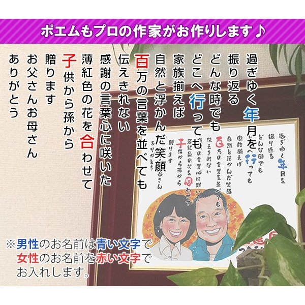 喜寿のお祝い 似顔絵ポエム 朱色色紙額 似顔絵人数1〜2人|bondsconnect|08