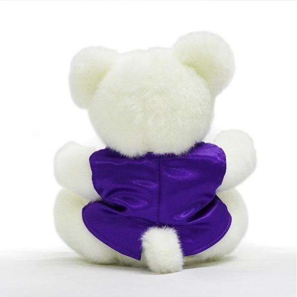 古希のお祝い 紫のちゃんちゃんこを着た 古希テディベアセット サンクスフラワークロック 角型 刻印無し レッドローズ 女性 プレゼント 時計 bondsconnect 11