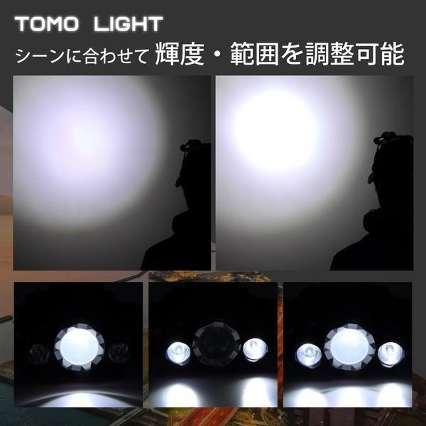 Tomo Light LEDヘッドライト ジョギング ウォーキング 自転車 釣り 三眼ライト PSE認証 18650型リチウムイオンバッテリー 2本付属〔単品〕