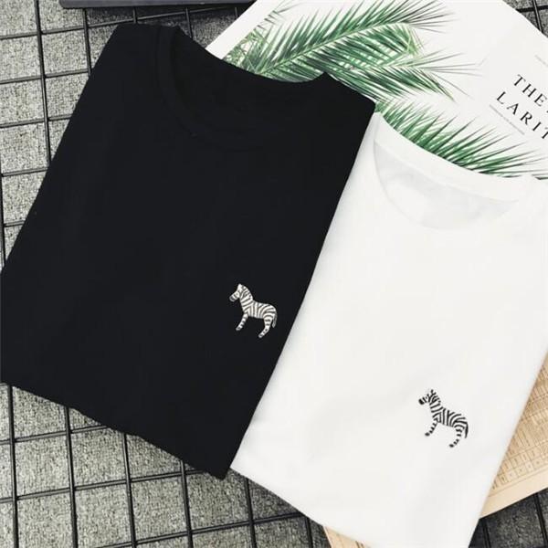 3点12%OFF対象 Tシャツ レディース 刺繍 動物柄 白 黒 おしゃれ 秋冬 半袖 トップス ゆったり カジュアル フラミンゴ ゼブラ イルカ キリン アニマル柄|bonito|07