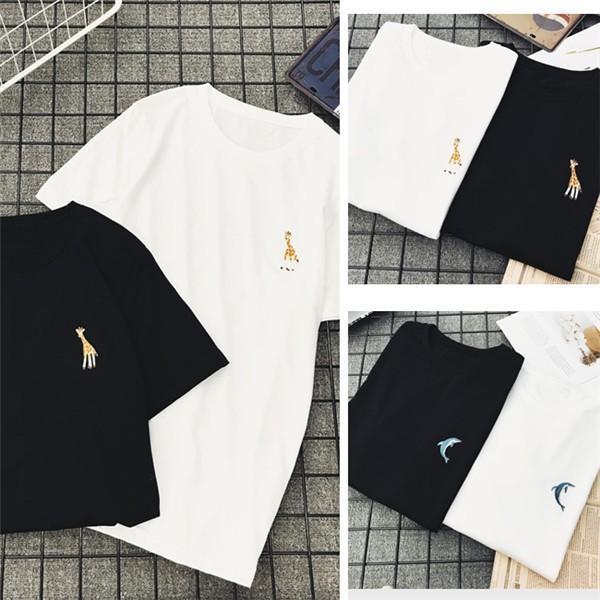 3点12%OFF対象 Tシャツ レディース 刺繍 動物柄 白 黒 おしゃれ 秋冬 半袖 トップス ゆったり カジュアル フラミンゴ ゼブラ イルカ キリン アニマル柄|bonito|10