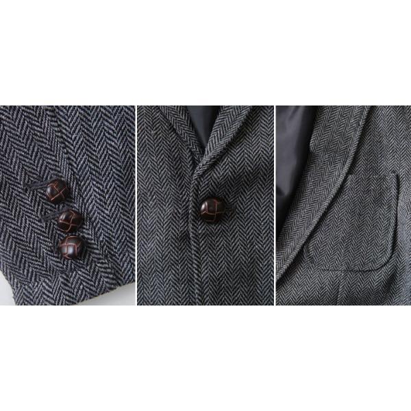ジャケット ヘリンボーンツイード テーラードジャケット 【3ピース用】 メンズ アメカジ 送料無料|boogiestyle|06