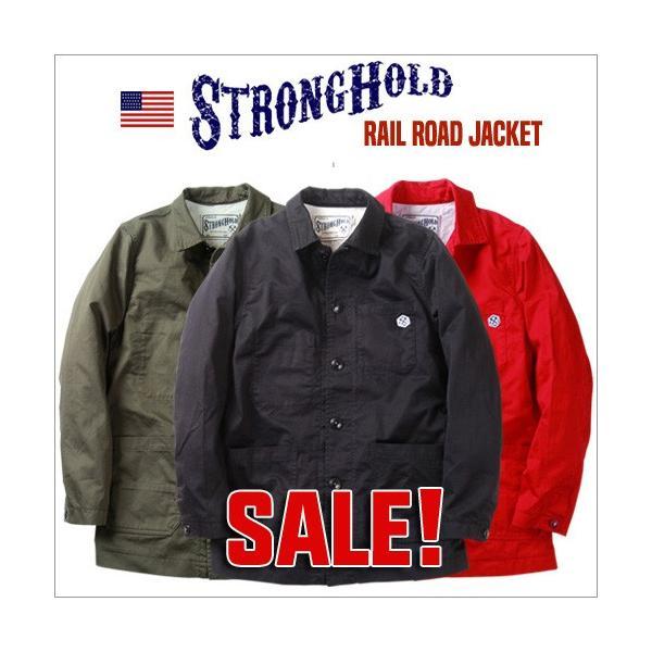 ジャケット STRONG HOLD 高密度 三子サテン生地 レイルロードジャケット ストロングホールド ワークジャケット|boogiestyle