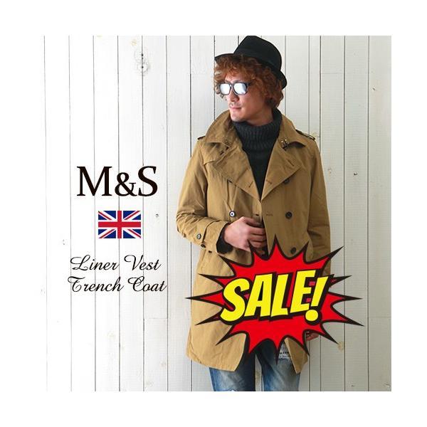M&S 中綿ライナーベスト付き グログラン・クロス トレンチコート メンズ アメカジ 送料無料|boogiestyle