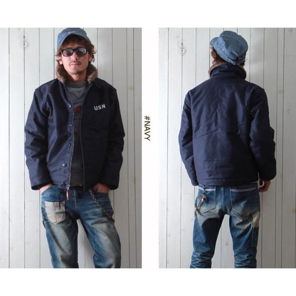 HOUSTON 日本製ヘビーコットン Nー1 デッキジャケット 裏総ボア メンズ アメカジ 送料無料|boogiestyle|02