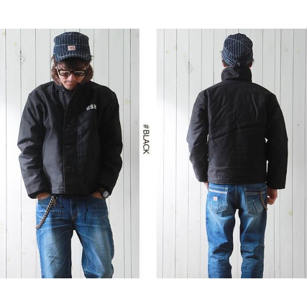 HOUSTON 日本製ヘビーコットン Nー1 デッキジャケット 裏総ボア メンズ アメカジ 送料無料|boogiestyle|04