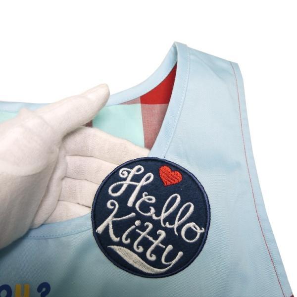 保育士 キャラクターエプロン ハローキティ 保育士 かわいい キティちゃん ブルー チュニックエプロン アップリケ ポケット 大人サイズ 水色 チェッ|boogiewoogie-store|03