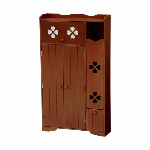 トイレ収納向け薄型キャビネット 幅50cm高さ88cm クローバー柄 ブラウン|bookshelf