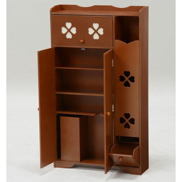 トイレ収納向け薄型キャビネット 幅50cm高さ88cm クローバー柄 ブラウン|bookshelf|02
