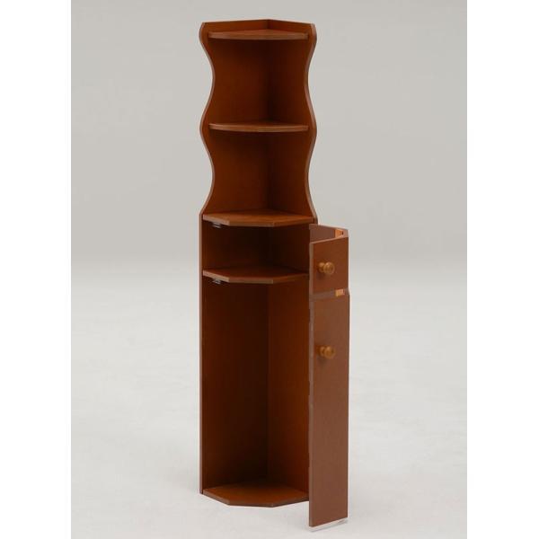 トイレコーナーラック 幅16cm高さ90cm クローバー柄 ブラウン おしゃれ 安い|bookshelf|02