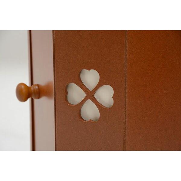 トイレコーナーラック 幅16cm高さ90cm クローバー柄 ブラウン おしゃれ 安い|bookshelf|03