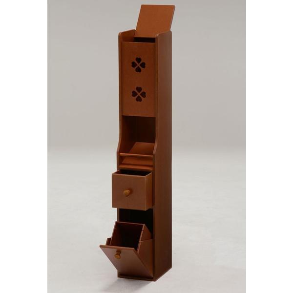 サニタリー付きトイレコーナーラック 幅16cm高さ93cm クローバー柄 ブラウン おしゃれ 安い|bookshelf|02
