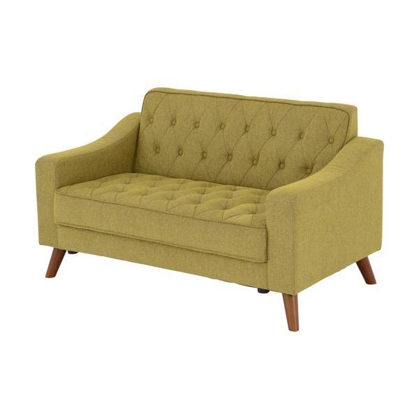 2人掛けソファ 幅124cm 布張 アシュビー グリーン 布地 ファブリック ソファ ソファー sofa 2人掛けソファー 二人掛けソファ 脚付き ロータイプ 一人暮らし