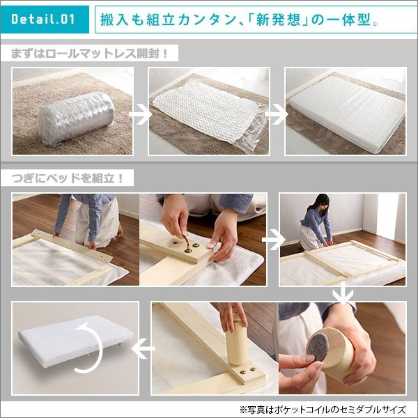 圧縮梱包 一体型 脚付きマットレス 脚付きロールマットレス Unite Raide ユニテ レド セミシングルサイズ ベッド セミシングルベッド マットレス|bookshelf|04