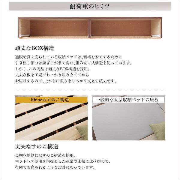 お客様組立 日本製 頑丈 収納ベッドスタンダードボンネルコイルマットレス付き ダブル 収納付きベッド ベット 棚付き コンセント付き ボックス構造 すのこ構造 bookshelf 06