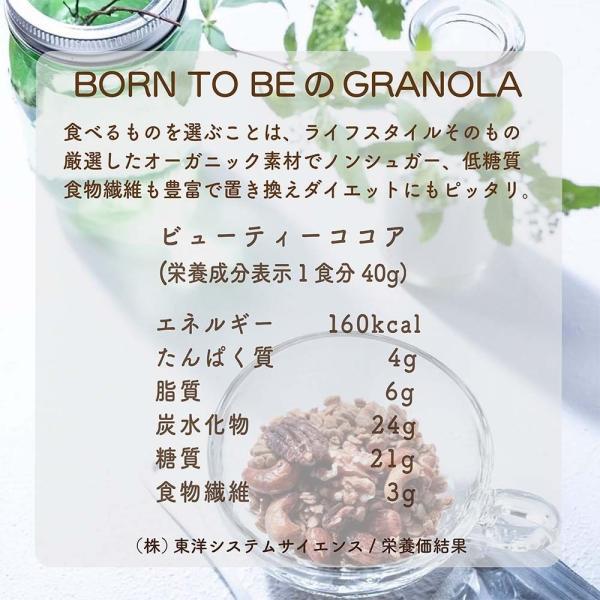 グラノーラ  Beauty Cocoa(有機チョコチップ入)180g グルテンフリー ノンシュガー 有機ナッツ 有機ドライフルーツ|born-to-be|06