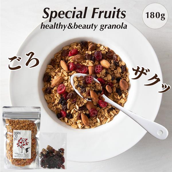 グラノーラ Special Fruits 180g グルテンフリー ノンシュガー 有機ナッツ 有機ドライフルーツ|born-to-be