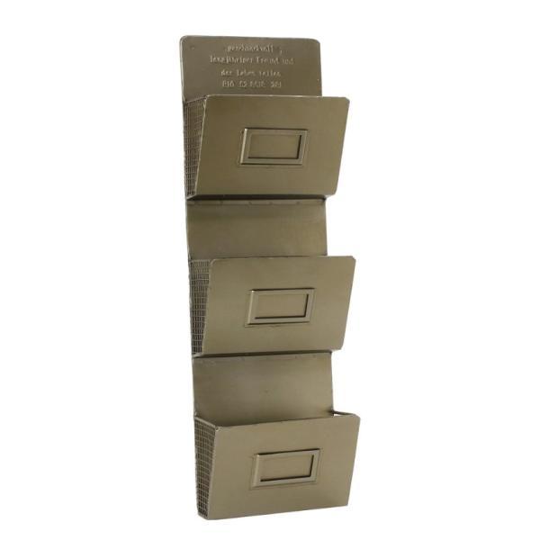 GESHMACK ブリキ3段ウォールレターラック GFA605 カードラック YY FR 収納 ポストカード レターケース