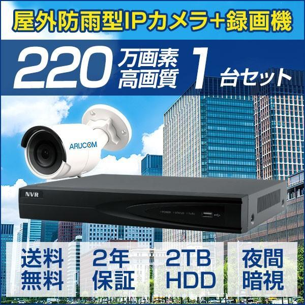 IPカメラ PoE セット 屋外 カメラ1台 レコーダー 220万画素 屋外 IP バレット 防犯カメラ 監視カメラ 暗視 遠隔監視 レコーダーセット(SET664-1) bouhansengen