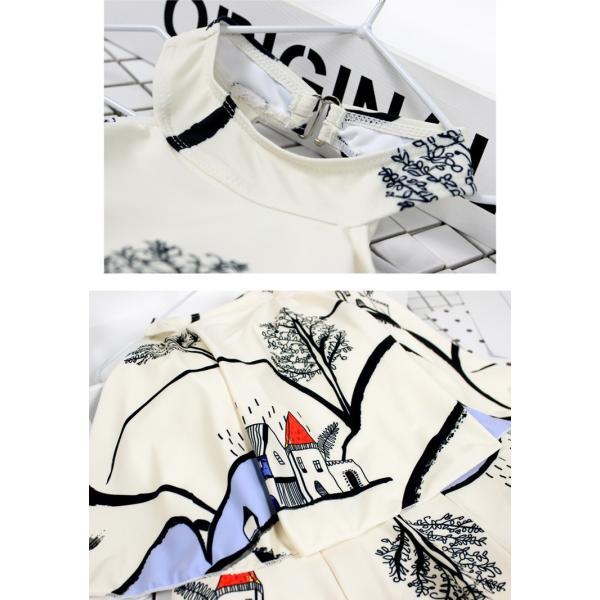 即納有り 水着 ワンピース 体型カバー レディース ワンピ 水着 大きいサイズ ママ ミセス フレア ハイネック 20代 30代 40代 人気 M L XL 2XL ブラック ホワイト bouquet-de-coton 13