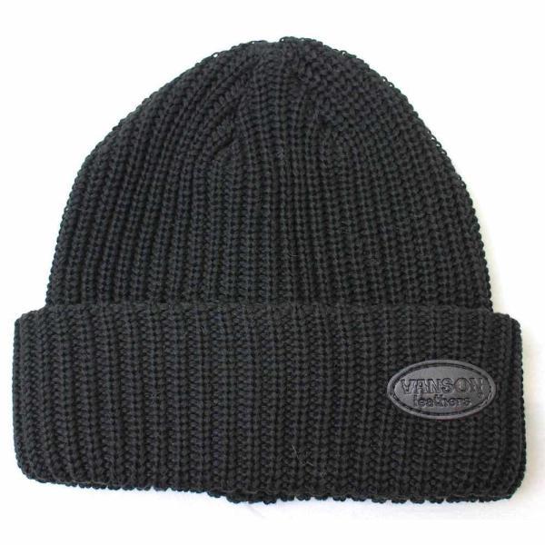 VANSON(バンソン):レザーパッチリブワッチ/メンズ&レディース/ファッション ニットキャップ 帽子|boushikaban|02