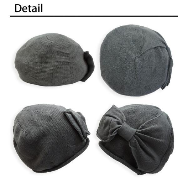 ベレー帽 コットン 医療用帽子 おしゃれ リボン 春 夏 秋|bousidreamwalk|03