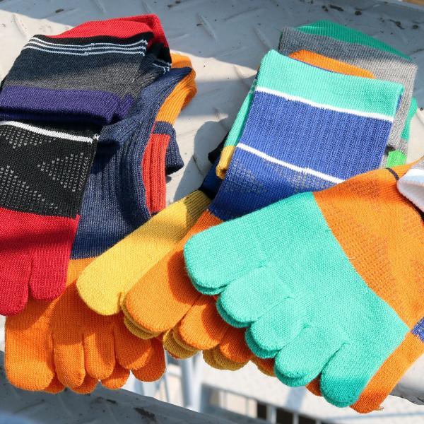 靴下メンズ5本指ソックス6足セットワーク&スポーツサポートゴム付ハーフ丈(ミドル丈)