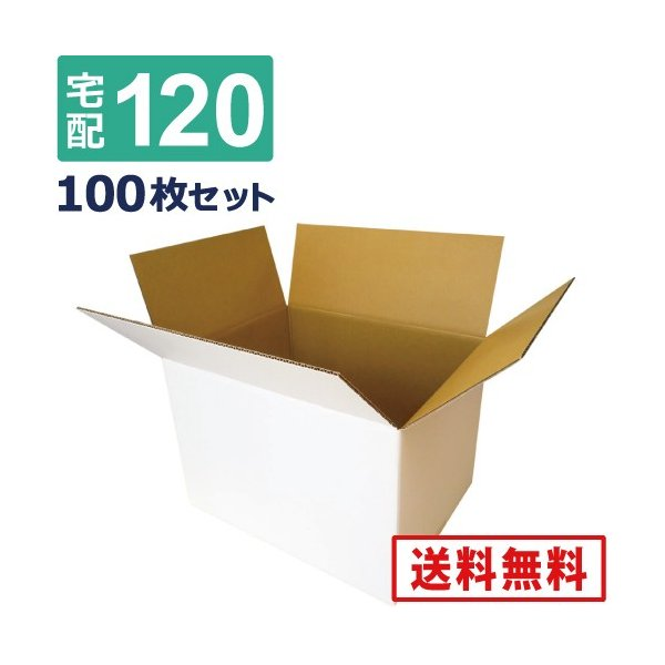 法人限定販売 ダンボール 段ボール 白 120サイズ (46×35.5×32cm) 100枚セット 引っ越し ダンボール箱 120  展示 アート
