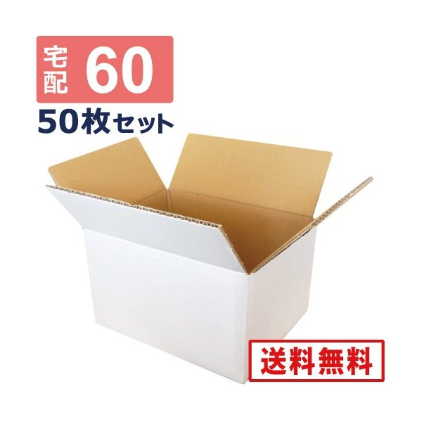 ダンボール 段ボール 白 60サイズ (24×19×14cm) 50枚セット 引っ越し ダンボール箱 60 展示 アート