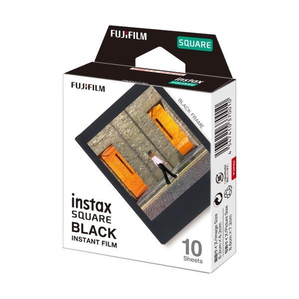 フジフイルム インスタントカラーフィルム instax SQUARE ブラックフレーム 10枚入の画像