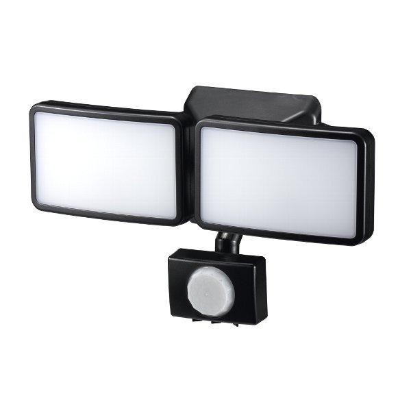 ヤザワ 屋内屋外用ACコンセント式LEDセンサーライト 6W白色LED×2灯 YAZAWA SLR6LEA2 赤外線センサー式・リモコン付属・IP44防水・無段階調光機能