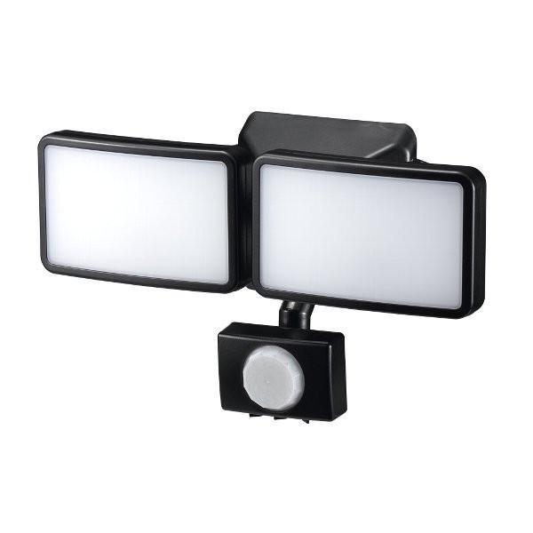 ヤザワ 屋内屋外用乾電池式LEDセンサーライト 3W白色LED×2灯 YAZAWA SLR3LEB2 赤外線センサー式・リモコン付属・IP44防水・無段階調光機能