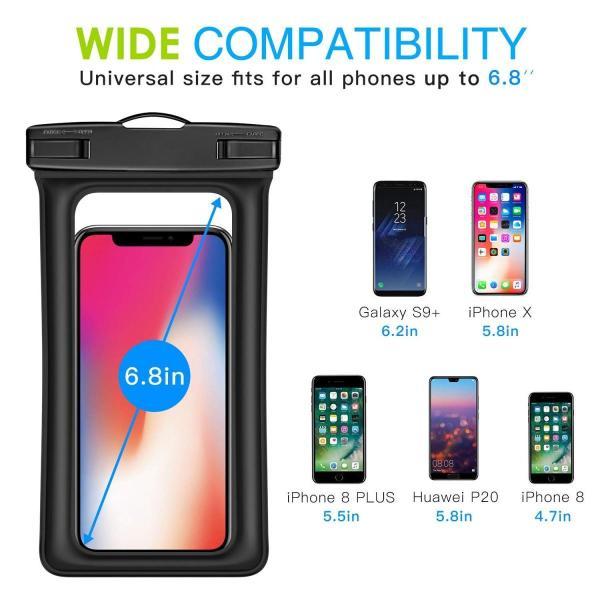 防水ケース - ATiC 6.8インチ以下スマホ用首掛け式ダイビングバッグ ストラップ付き IPx8防水レベル iPhone Xs/iPho|braggart4|07