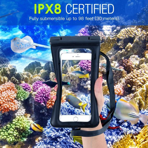 防水ケース - ATiC 6.8インチ以下スマホ用首掛け式ダイビングバッグ ストラップ付き IPx8防水レベル iPhone Xs/iPho|braggart4|08