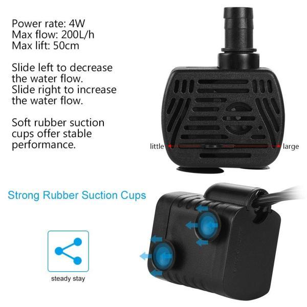 LEDGLE 水中ポンプ 小型ポンプ ミニ 排水ポンプ 池ポンプ 水槽 循環ポンプ 潜水ポンプ 静音 揚程60-80cm 吐出量300L/H|braggart4|05