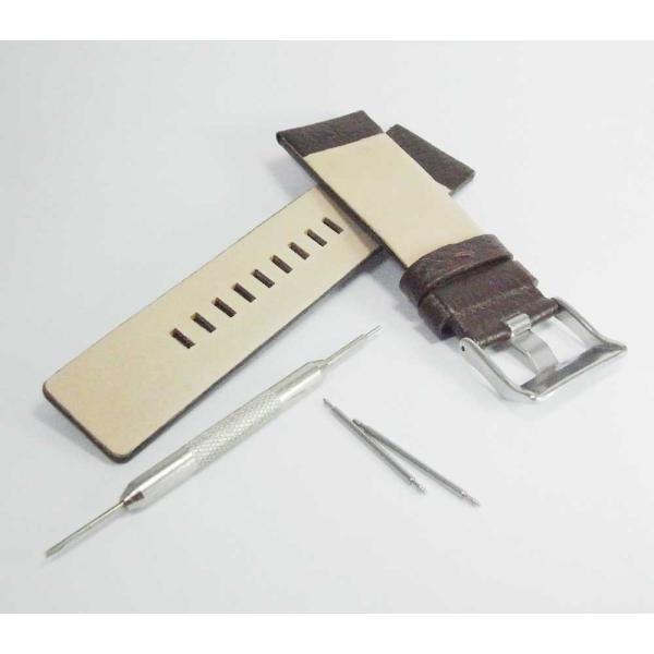 時計 腕時計 バンド ベルト DIESEL ディーゼル ブラウン 28mm 26mm ディーゼル 時計部品 時計修理  メンズ バンド (バネ棒外し+バネ棒セット) 汎用バンド|brain-products|02