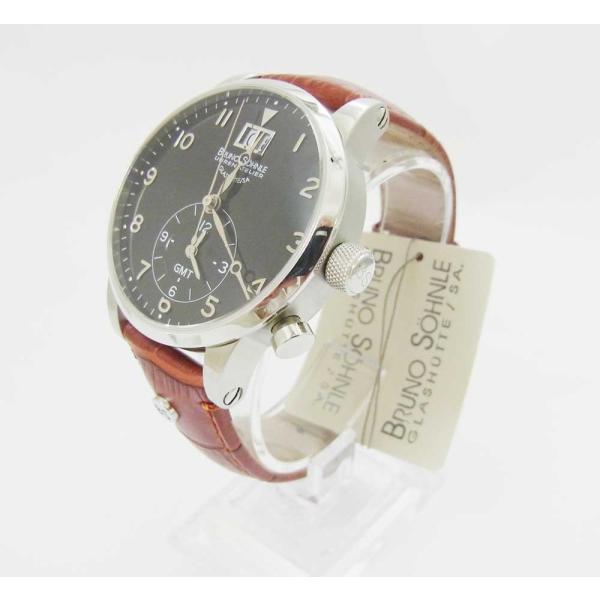 half off 9ba6c 8847b 時計 腕時計 ビックデイト ブルーノ ゾンレー クォーツ 高級 ドイツ製 メンズ GMT ブラック 修理再生品