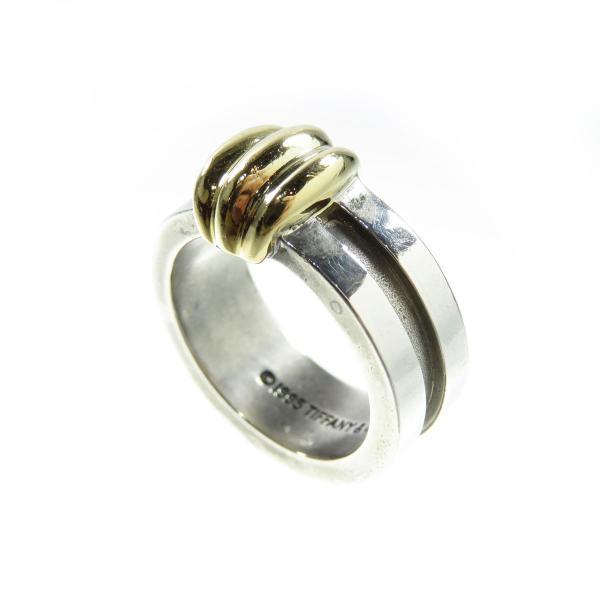 wholesale dealer f8fbd e0a53 ティファニー TIFFANY&Co. シグネチャー コンビリング イエローゴールド シルバー K18YG SV925 レディース メンズ リング 指輪  洗浄済 良品