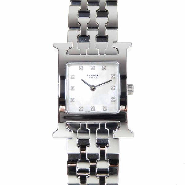エルメス HERMES Hウォッチ シェル文字盤  HH1.210 12Pダイヤ ホワイトシェル レディース 腕時計 新品仕上げ済