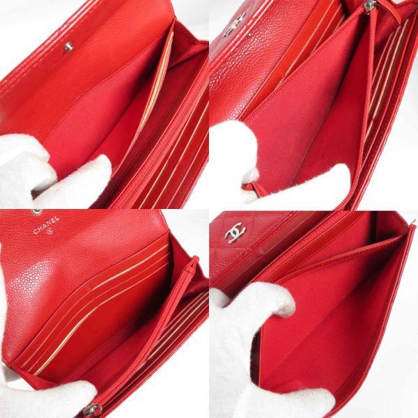 シャネル CHANEL マトラッセ A50096 キャビアスキン ルージュレッド レディース 二つ折り長財布