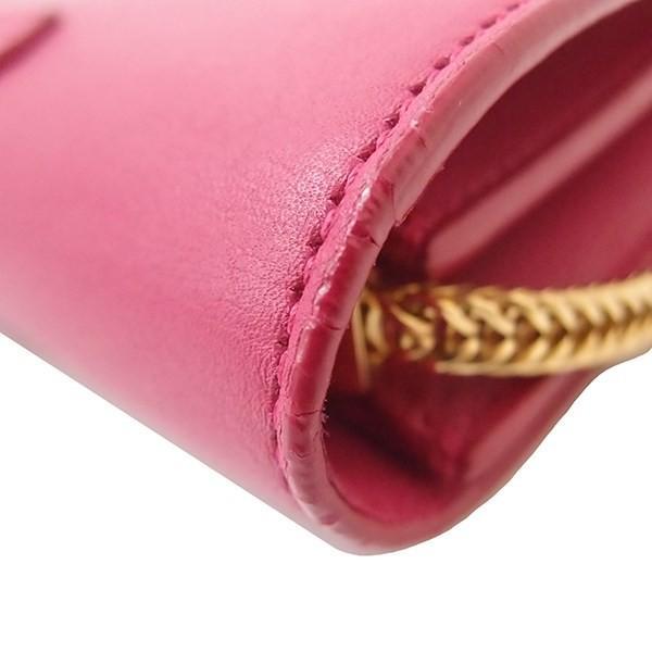 中古 新品同様 サンローラン クラシックYライン チェーンショルダーバッグ ピンク ゴールド金具 レザー ミニ チェーンバッグ レディース