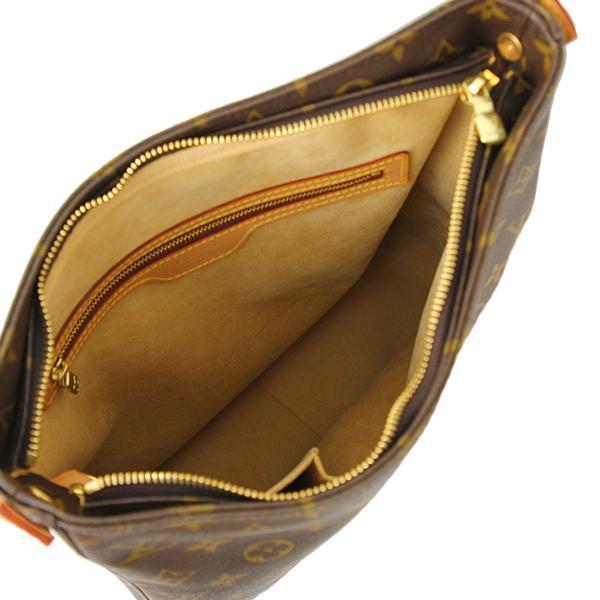 中古 ルイヴィトン ソローニュ モノグラム レザー ヌメ革 ブラウン ゴールド金具 ショルダーバッグ 斜め掛け 肩がけ ヴィンテージ LV ロゴ