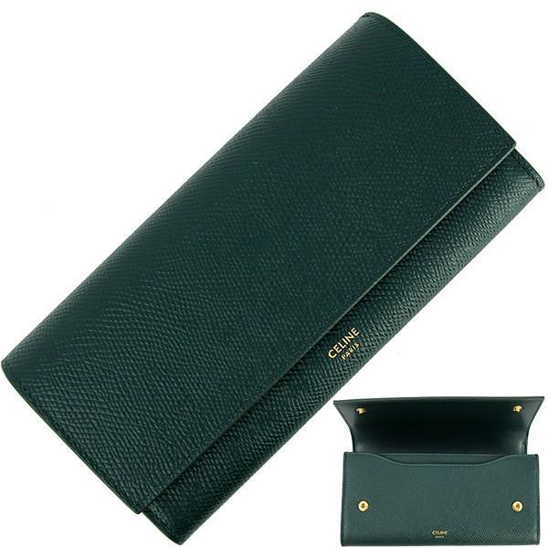 553ad4b541822b 新品 セリーヌ ラージフラップウォレット グリーン 緑 レザー 二つ折り長財布 お札入れ カード入れ ...